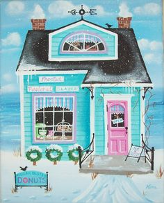Sugar Dust Donut Shop Original Folk Art Print by KimsCottageArt