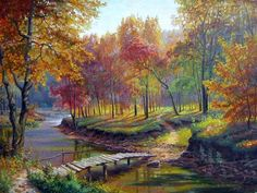 Art Brillant Gallery Tokyo: Lakeside Cabin - Fantasy Autumn Landscape by David. Fall Pictures, Pictures To Paint, Nature Pictures, Beautiful Pictures, Watercolor Landscape, Landscape Art, Landscape Paintings, Beautiful Paintings, Beautiful Landscapes