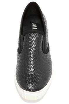 Mia Corklynn Black Basket Weave Slip-On Sneakers