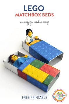 Kids Activities Blog has a great Lego Matchbox Bed printable. When you download this printable you will cut out the sheets, glue them to the matchbox cover