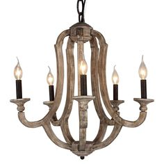 DOCHEER Cottage Vintage 5-Light Wood Metal Chandeliers 10137 Shabby Chic Chandelier Hanging Foyer Lighting for Home Decor Dining Room, Bedroom, Living Room, Kitchen Island