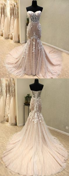 modest light champagne mermaid wedding dresses, luxury sweetheart lace bridal dresses, dream court train wedding dresses with appliques