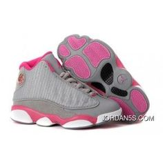 1441f60a7acd59 New Year Deals Kids Nike Air Jordan Shoes 13 Grey Rose White Black
