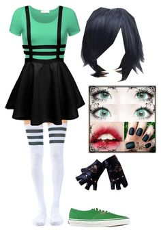 """PowerPuff Girl: Buttercup"" by cherry-demon ❤ liked on Polyvore featuring Leg Avenue and Vans"