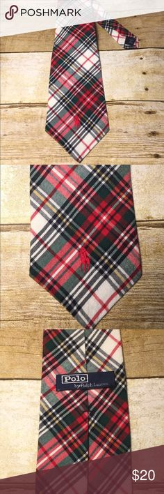 "Polo Ralph Lauren Hand Made Holiday Plaid Neck Tie Polo Ralph Lauren  Hand Made Neck Tie 100% Rayon Made in the USA Width - 3.75"" Length - 58""                                        The material tags stitching is coming undone on one side. Polo by Ralph Lauren Accessories Ties"