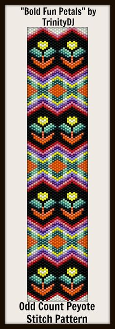 """Bold Fun Petals"" - Odd Count Peyote stitch bracelet (IN THE RAW) now available as direct download and or kit AND Here's your chance to test bead new designs and earn DISCOUNTS on your next 'In the Raw' Design! Please follow this link for more info and the pattern/kit listing: http://cart.javallebeads.com/Bold-Fun-Petals-Odd-Count-Peyote-Stitch-Pattern-p/td148.htm"