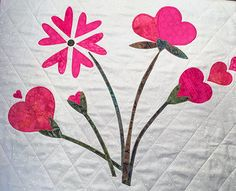 THE FULL KIT:  This option is for people who want everything they need in one package--not have to check their stash for suitable #backing or batting.  It includes all the p... #appliquekit #wallhanging #quiltkit #makeitinaday #funandeasy #valentine #batting #flange #binding #sleeve #hearts #flowers #quilt #applique