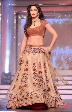 Adorned by the resplendent B-town diva Katrina Kaif, this beige brown party wear lehenga is a surefire showstopper for any special occasion. It features shimmery choli and intricate stone, zircon, zari and chandala handwork on lehenga and dupatta. Bollywood Lehenga, Lehenga Choli, Bollywood Fashion, Bollywood Style, Bridal Lehenga, Floral Lehenga, Bollywood Theme, Net Lehenga, Lehenga Blouse