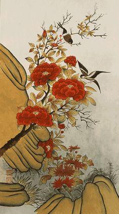 사단법인 한국 민화 연구소 Contemporary Decorative Art, The Magic Flute, Korean Painting, Asian Paints, Bonsai Art, Classic Paintings, Naive Art, Woodblock Print, Textile Prints