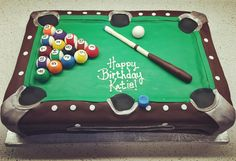 Pool Table Cake #llbake #birthdaycake #birthday #sanrafael #california #pooltable #poolcue #poolballs #pockets #fondant #allediable #break #celebrate