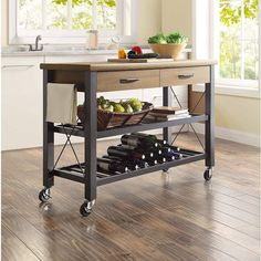 Discover the top-rated farmhouse style kitchen island carts and farmhouse bar carts on wheels. We have a huge selection whether you need a kitchen island on wheels for your farmhouse kitchen or a farmhouse rolling bar cart with a tray on top. Small Kitchen Cart, Rolling Kitchen Island, Kitchen Island Cart, Kitchen Shelves, New Kitchen, Kitchen Decor, Kitchen Trolley, Portable Kitchen Island, Island Table