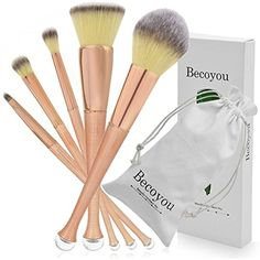 Becoyou Professional Makeup Brushes, 5 Pieces Mermaid Makeup Brush Set for Face Powder Foundation Blush Concealer Contour Eyeshadow Cosmetics Brush, Rose Gold *** Check out the image by visiting the link. (This is an affiliate link and I receive a commission for the sales)