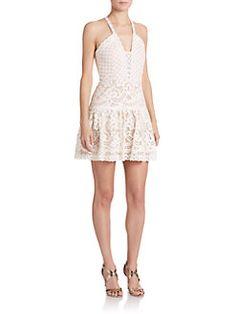 BCBGMAXAZRIA - Carlita Scalloped-Lace Halter Dress