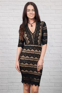 Sierra Lace 3/4 Sleeve Dress in Black