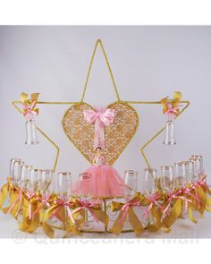 "Star Toasting Set Star with Heart toasting set is decorated with your choice colors. ""Mis 15 Anos"" and a pretty quinceanera figurine design are edged on every glass. Quinceanera Centerpieces, Quinceanera Themes, Table Centerpieces, Centrepieces, Star Wars, Sweet 15, Toast, Ceiling Lights, Stars"