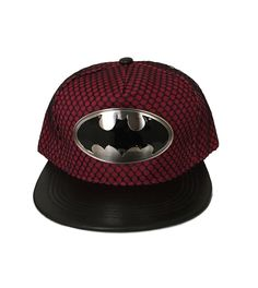 Batman Metal Shield Maroon Flat Brim Baseball Cap Hat Mesh style design over Maroon Polyester baseball cap. Snapback, Flat Brim. OSFM 14 and over