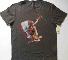 NEW-LUCKY-BRAND-Graphic-Indian-Women-Short-Sleeve-Cotton-Black-T-Shirt-XL-NWT