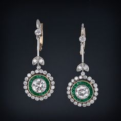 Vintage Style Diamond and Emerald Drop Earrings - 20-1-2287 - Lang Antiques