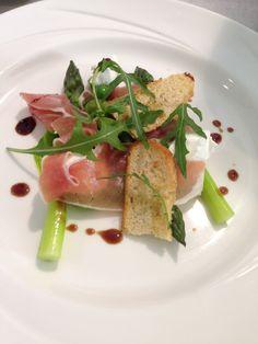 Salad of goats curd, Parma ham, peas, broad beans, Cambridgeshire asparagus, crispy bread, vino cotto #food #inspiration #starter #side