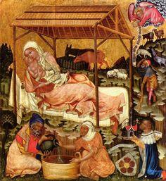 Maestro di Hohenfurth - Ciclo della vita di Gesù - Natività ( 1350 circa )