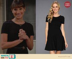 Rachel's solid black short sleeve dress on Glee Short Sleeves, Short Sleeve Dresses, Dresses With Sleeves, Rachel Berry, Lea Michele, Glee, Black Shorts, Skater Dress, Solid Black