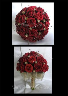 bridal bouquet of fake flowers in champagne and red | Lifelike polyfoam roses with diamante sprays & gold ribbon roses with ...