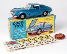 Lot 1721 - Corgi Toys, 332 Lancia Fulvia Sport Zagato, metallic blue body with light blue interior, in the