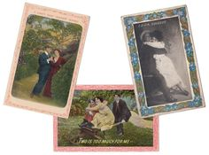 This is a lot of 3 romatic postcards with decorative borders, 1 of them is embossed.