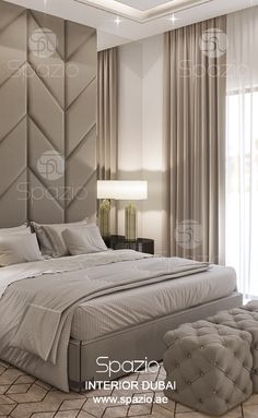 Master bedroom interior design was created by Spazio interior decoration LLC, Dubai. Order interior design and decor for your house in Dubai. Visit our web site to find out the cost ($) and get more ideas and inspiration.
