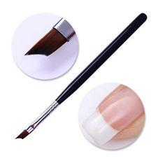 1Pc Acrylic French Tip Nail Brush UV Gel Painting Brush Black Silver Handle Nail Design Drawing Pen Nail Art Tool