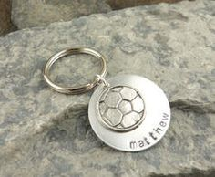 My Soccer Star Personalized Hand Stamped Keychain - Great for Soccer Moms
