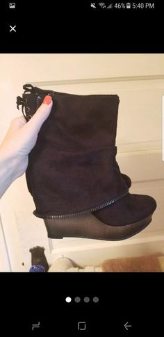 657718ae24 Not Rated Wedge Boots 7 Love Clothing, Wedge Boots, Wedge Booties Outfit