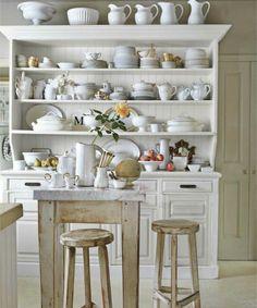 white and shabby kitchen hutch open shelving Kitchen Dresser, Kitchen Dining, Kitchen Decor, Kitchen Display, Kitchen Shelves, Kitchen Storage, Kitchen Cupboard, Open Kitchen, Diy Kitchen