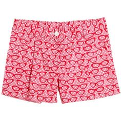Sarah Jane Kids-girls Glasses Printed Cotton Drill Shorts (550 NOK) ❤ liked on Polyvore featuring pink