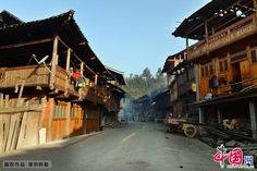 Photo shows the view of Dong village of Huanggang, Liping County, southwest China's Guizhou Province.  Dong village of Huanggang, built in ancient Song Dynasty (960-1279), attracts tourists home and abroad for its simple and unsophisticated ethnic life as well as unique architecture.  http://www.chinatraveltourismnews.com/2016/08/unique-view-of-dong-village-of.html