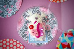 Giant Daphnia Brooch pink Felted Miniature Microbe Felt by hine