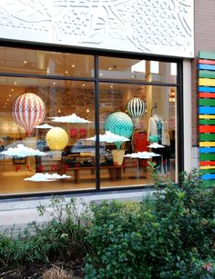 Hot Air Balloon Window Display #windowdressing #windowdisplay