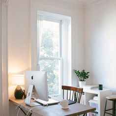 Simple, tranquil home office space. Anniversary Sale home office Home Office Inspiration, Workspace Inspiration, Office Ideas, Office Inspo, Desk Ideas, Design Inspiration, Home Office Space, Office Workspace, Desk Space