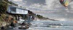 The visualization of villa on the cliffs of Mediterranean Sea, Sardinia/Italy.