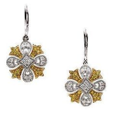 14KWG leverback earrings set with natural white and yellow diamonds!
