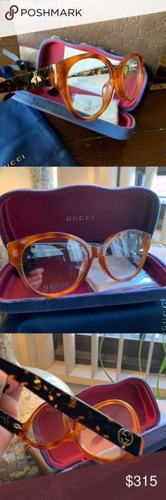 64ace29a0e Authentic Gucci 53m Acetate Bee Logo opt. Glasses Authentic GUCCI UNISEX  53mm Round Cat