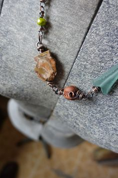 Wrapped Copper Stone Petrified Wood Czech by stephaniedistler #sdaj #stephaniedistlerartidanjewelry #wirewrapped #petrifiedwoodbeads #artisanbeads #artisancomponents #artisanjewelry