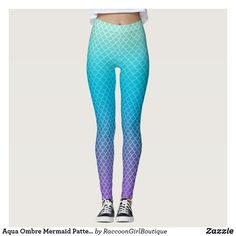 Aqua Ombre Mermaid Pattern Leggings Ombre Leggings, Mermaid Leggings, Mermaid Tails For Sale, Monofin Mermaid Tail, Purple Two Piece, Gothic Leggings, Mermaid Swimsuit, Black Mermaid, Pattern Leggings