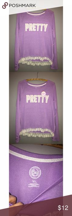 """NEW Girls Sz 16 1/2"""" Long Sleeve Shirt NEW with tags girls 16 1/2 SO brand lilac and lace pullover. Is it wrong that I want to squeeze into this?!? Cute ruffled hem and a fabulous reminder 'pretty' in lace. Please ask any and all questions prior to purchase. Shirts & Tops Tees - Long Sleeve"""