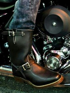 Stivali da Moto Eleganti in Pelle da Uomo Rock And Roll