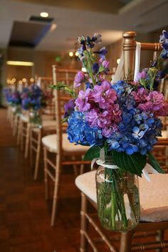Summer Wedding in Baltimore with purple and blue flowers.