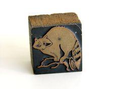 Antique Letterpress Print Block Raccoon Vintage Wooden Typography Newspaper Wood Printing Die. $12.00, via Etsy.