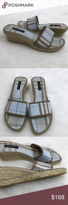 "Burberry Blue Check Espadrille Wedge Sandals Burberry Blue Check Espadrille Wedge Sandals! Love the blue & tan classic nova Plaid! So comfy & cute! Size 39 or 9. Wedge is 2.25"" & platform is .75"". Previously loved. Some wear on Bottom & on fabric where foot lies. A bit of glue on wedge & a discoloration. See pics. LO4203031618 Burberry Shoes Wedges"