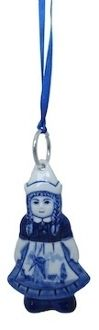 Dutch girl blue Delft Christmas ornament