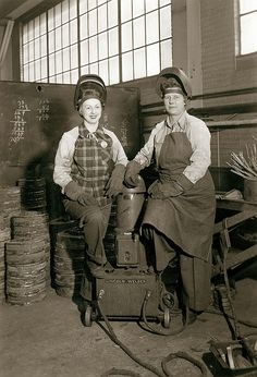 Two women welders at Wagner Electric Company. Photograph by Oscar C.  Kuehn, 1942-45.  Missouri History Museum Photographs and Prints  Collections. Industrial Buildings. N34597.